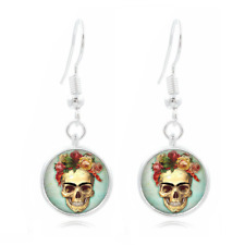 SKELETON Flower glass Frea Earrings Art Photo Tibet silver Earring Jewelry #210