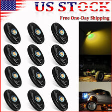 12 Pods Amber Led Rock Lights Kit For Jeep Offroad Truck Utv Atv Underbody Light