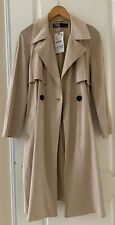Zara Womens Trench Coat Brown Genuine Suede Leather Long Jacket Size S