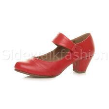 Womens Ladies Mid Heel Mary Jane Strap Smart Work Comfort Court Shoes Size UK 5 / EU 38 / US 7 Red Matte