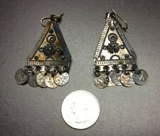 Vintage Antique Turkish Persian Silver Ear Rings Tarnished D6