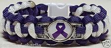 Lupus & Fibromyalgia Purple & White Paracord Bracelet with Purple Ribbon Emblem