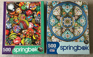 Lot of 2 Jigsaw Puzzles: Springbok's Marble Madness & Timeless Turquoise, 500