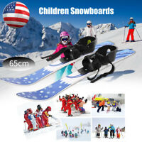 65cm Children Kids Snowboard Skis Double Plates with Poles Skiing Beginner Kit