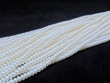 White 4-4.5mm Natural Freshwater Pearl Beads Button Rondelle Shape AA+