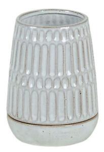 Stoneware Patterned Pot w/Saucer Glazed Off White Tan NEW Garden Planter Home