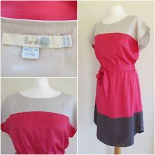 Boden Relaxed Malve Rosa & Grau Farbe Block Silk Blend SOMMER KLEID UK 12R