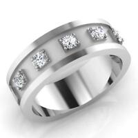 0.29 Ct Round Natural Diamond Wedding Mens Ring 14K White Gold Band Size V