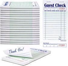 (20-Books) 1 Part Green White Guest Order Checks w/ Guest Receipt, 1000 Tickets