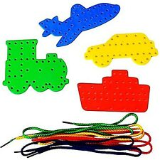 4 TRANSPORT LACING SHAPES COLOURED THREADING LACES FINE MOTOR SKILLS