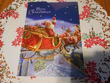 LOT OF 4 SANTA TRI-FOLD CHRISTMAS CARDS