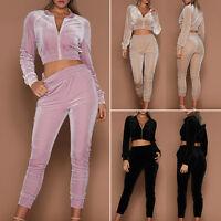 Damen Samt 2Teiliges Sweatshirt Hose Velvet Trainingsanzug Hausanzug Sport Mode