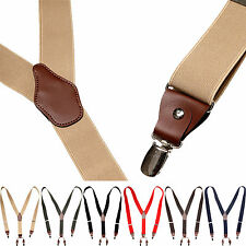 Mens Womens Clip-On Elastic Suspenders Leather Y-Shape Adjustable Braces Belts