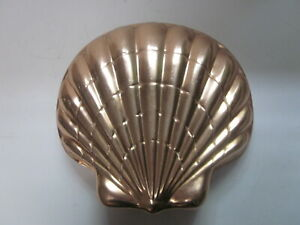 VINTAGE COPPER CLAD LARGE SCALLOP SHELL SHAPED CAKE MOLD