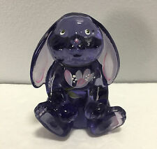 Fenton Glass Violet Purple Lop Eared Bunny Rabbit Floral Hand Painted Figurine