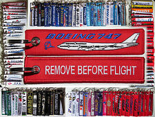 Keyring Boeing 747 Jumbo Jet RED Remove Before Flight tag keychain for pilot