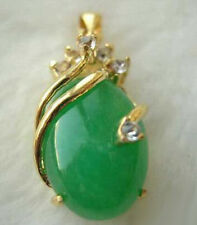 18KGP Green Jade Crystal Pendant Chain Necklace