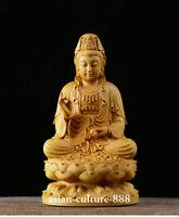 chinese boxwood carving Seat Guan Yin Goddess  Bodhisattva Buddha Lotus Statue