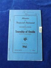 MINUTES AND FINANCIAL STATEMENT TOWNSHIP OF ONEIDA HALDIMAND ONTARIO 1961