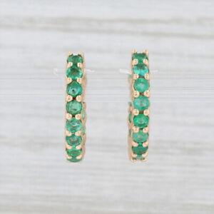 New Nina Nguyen Inside Out Emerald Hoop Huggie Earrings 18k Yellow Gold Pierced