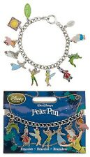 "Disney Store VHTF PETER PAN 10 CHARM BRACELET 8"" Wendy Tinkerbell Hook Mr Smee"