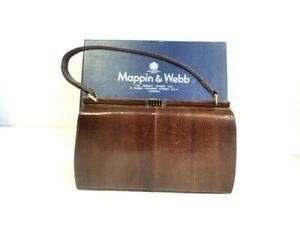 Vintage Mappin & Webb Brown Snakeskin 'Marquessa' Handbag Boxed, unused  V18
