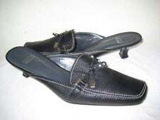 Stuart Weitzman Black Leather Mules Heels Shoes Women's Size 9 M