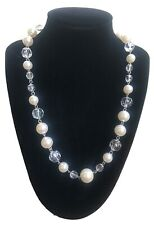 Vintage Retro Style Faux Pearl And Faceted Acrylic Crystal Beaded Necklace