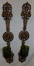 Wall Sconce Vtg Large Retro Mcm Hanging 2 pcs Green Glass Candle Holders Hoda