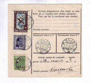 1938 Lithuania Money Transfert Trasnfer Kulia to Kaunas stamp cancel Post