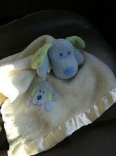 Blankets and Beyond Blue Puppy Dog Fleece/Satin baby Boy Security Blanket Lovey