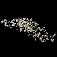Silver Clear Swarovski Crystal Rhinestone Floral Spray  Bridal Comb Hairpiece