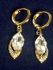 F10 Marquise sim diamonds 18K gold gf huggie hoop +vdangle drop earrings BOXED