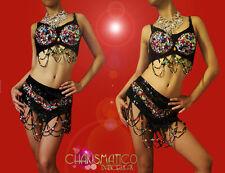 CHARISMATICO Rainbow beaded black showgirl's Bellydance Bra and matching belt