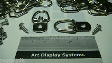"10 Large Triangle D-Ring 1 Hole Picture Hangers 1 3/4"" L W/ 10 Screws + Samples"