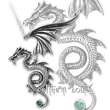 Goth : Alchemy Collier Chaine & Pendentif Dragon Ailé Bestia Regalis Gothique