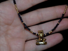 Pre-Columbian Style Gold Frog Pendant Necklace with Sapphire and Gold Beads