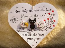 Shabby chic Personalised Wooden Plaque handmade Sign Gift Granny Nanny Mum cat