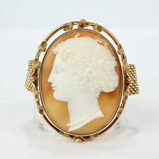 Finely Carved Large Shell Cameo Mounted on a 14K Gold Mesh Bracelet - VR