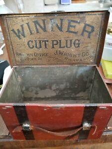 RARE Vintage Tobacco Tin, J.Wright Co. WINNER Cut Plug, Lunch Box