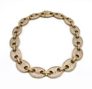 "18mm Men's & Women 16"" Mariner Link Choker Chain Lab Diamond 14k Gold Plated"