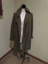 Eileen Fisher long hooded cardigan ribbed sweater thick wool green sz Medium