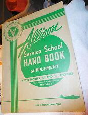 ww2 P-38,P-39,P-40,P-51 ALLISON V-1710 SERVICE SCHOOL MANUAL HAND BOOK,vintage