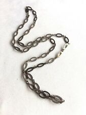 Interesting Vintage Mexico Sterling Silver Long Link Necklace Crown Hallmarked
