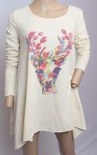 NWT Judith March Rainbow Deer Hippy Boho Festival Tunic Top Sweater Blouse S