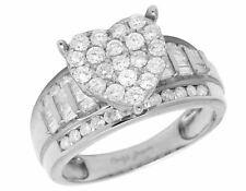 10K White Gold Heart Baguette Genuine Diamond Ladies Engagement Ring 1.0ct 10MM