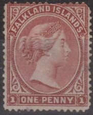 c223) Falkland Islands 1885/91 MM SG 8 1d Brownish-claret c£120+