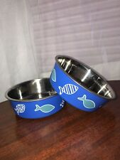 Blue Fish Dog Bowl