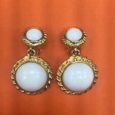 Vintage KJL White Earrings