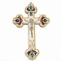 Olive Wood Handmade Cross w/ INRI, Jesus Christ Crucifix & Gemstones from Israel